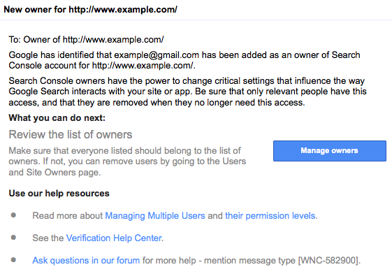 malicious new owner search console notification