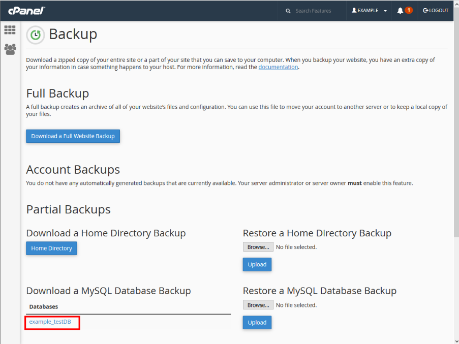 backup database cpanel wordpress