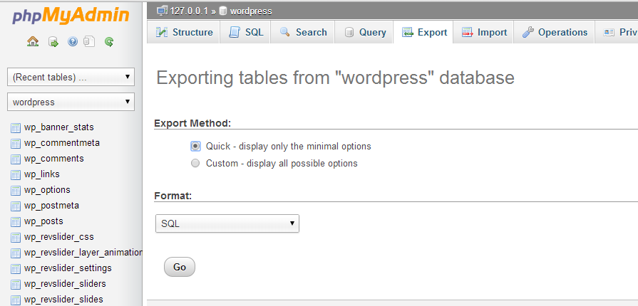 export tables from WP database