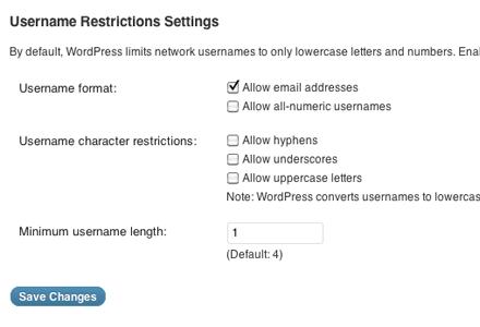 WordPress Username Requirements (Multi Site)