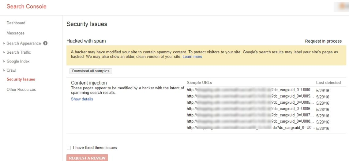 Search Console Security Problems