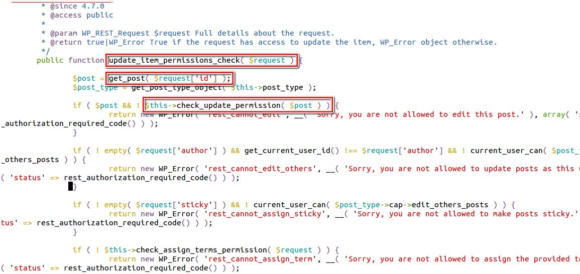 rest api exploit in wordpress exists in