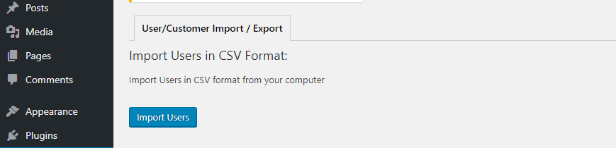 new User Import Export tab