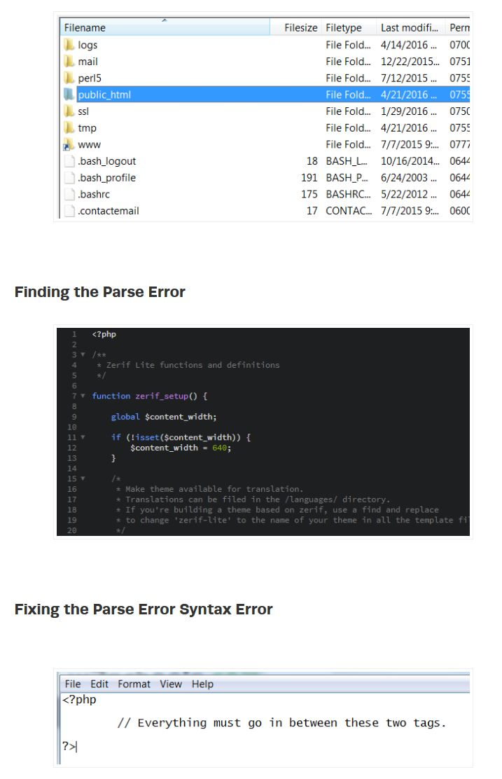 How to Fix Parse Error Syntax Errors in WordPress