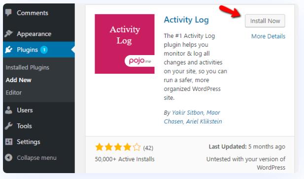 Monitor WordPress Activity log